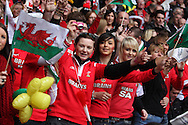 Happy Wales supporters show their support.  RBS Six nations championship 2010, Wales v Italy at the Millennium Stadium in Cardiff  on Sat 20th March 2010. pic by Andrew Orchard, Andrew Orchard sports photography,
