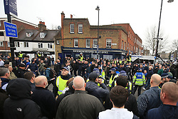 12 March 2017 - The FA Cup - (Sixth Round) - Tottenham Hotspur v Millwall - Opposing fans goad each other before the match - Photo:  Offside.