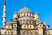Yeni Camii, the New Mosque monument with domes and minarets in Istanbul, Republic of Turkey