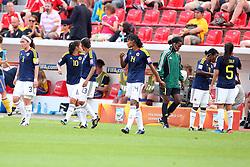 28.06.2011, FIFA Frauen-WM-Stadion Leverkusen, Leverkusen, GER, FIFA Women Worldcup 2011, Gruppe C, Kolumbien (COL) vs. Schweden (SWE), im Bild:  Kurze Trinkpause (hier Kolumbien)   // during the FIFA Women´s Worldcup 2011, Pool C, Colombia vs Sweden on 2011/06/28, FIFA Frauen-WM-Stadion Leverkusen, Leverkusen, Germany.   EXPA Pictures © 2011, PhotoCredit: EXPA/ nph/  Mueller *** Local Caption ***       ****** out of GER / CRO  / BEL ******