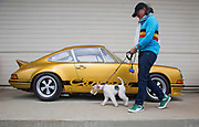 Image of a woman and her dog  admiring a Porsche Carrera at Luftgekuehlt in San Pedro, California, America west coast