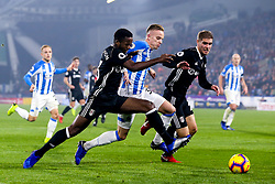 Florent Hadergjonaj of Huddersfield Town takes on Ryan Sessegnon and Maxime Le Marchand of Fulham - Mandatory by-line: Robbie Stephenson/JMP - 05/11/2018 - FOOTBALL - John Smith's Stadium - Huddersfield, England - Huddersfield Town v Fulham - Premier League