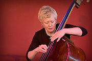 Bassist Alison Rayner from the Deirdre Cartwright group during a performance in 2008 in the frontroom of the Southbank center in London.