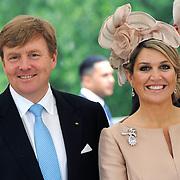 Koning en koningin bezoeken Noordrijn-Westfalen.<br /> Nederlands – Duitse bedrijvenbijeenkomst  bij SchlossMoyland<br /> <br /> King and Queen visit North Rhine-Westphalia.<br /> Dutch - German companies meeting SchlossMoyland<br /> <br /> Op de foto / On the photo:  <br /> <br />  Koning Willem Alexander en Koningin Maxima <br /> <br /> King Willem Alexander and Queen Maxima