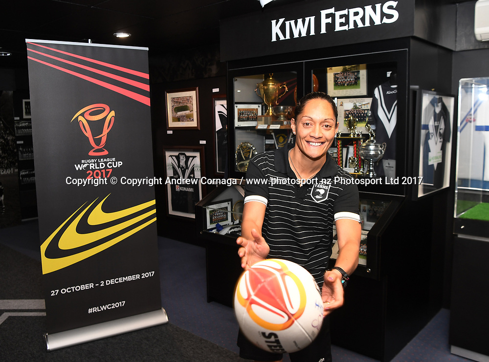 Kiwi Ferns captain Sarina Fiso promotes the Women's Rugby League World Cup. Auckland, New Zealand. Wednesday 2 August 2017. © COPYRIGHT PHOTO: ANDREW CORNAGA / WWW.PHOTOSPORT.NZ