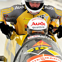 16 December 2007:  The Swiss 2 four-man bobsled Daniel Schmid, Raphael, Reto Saxer and brakeman Markus Luethi compete at the FIBT World Cup 4-Man bobsled competition on December 16, 2007 at the Olympic Sports Complex in Lake Placid, NY.  The Russia 2 sled driven by Alexandr Zubkov won the race with a time of 1:48.79.