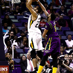 Feb 8, 2017; New Orleans, LA, USA; New Orleans Pelicans forward Anthony Davis (23) blocks a shot by Utah Jazz center Rudy Gobert (27) during the first quarter of a game at the Smoothie King Center. Mandatory Credit: Derick E. Hingle-USA TODAY Sports