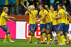13.07.2011, Commerzbank Arena, Frankfurt, GER, FIFA Women Worldcup 2011, Halbfinale,  Japan (JPN) vs. Schweden (SWE), im Bild.Torjubel / Jubel  nach dem 0:1 durch Josefine Oqvist (Schweden).. // during the FIFA Women´s Worldcup 2011, Semifinal, Japan vs Sweden on 2011/07/13, Commerzbank Arena, Frankfurt, Germany.   EXPA Pictures © 2011, PhotoCredit: EXPA/ nph/  Mueller       ****** out of GER / CRO  / BEL ******