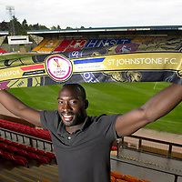 St Johnstone striker Gregory Tade pictured at McDiarmid Park today looking forward to tomorrow's nights game against Eskisehirpsor after missing the first leg in Turkey due to injury....15.07.12<br /> Picture by Graeme Hart.<br /> Copyright Perthshire Picture Agency<br /> Tel: 01738 623350  Mobile: 07990 594431