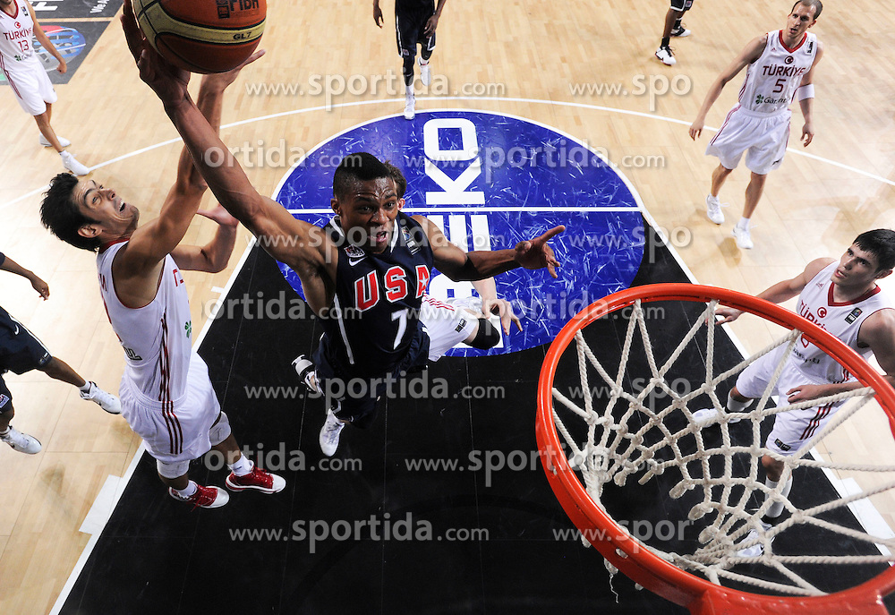 Kerem Gonlum of Turkey vs Russel Westbrook of USA during the finals basketball match between National teams of Turkey and USA at 2010 FIBA World Championships on September 12, 2010 at the Sinan Erdem Dome in Istanbul, Turkey.   (Photo By Vid Ponikvar / Sportida.com)