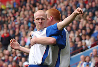 Credit: Back Page Images. Aston Villa v Crystal Palace, FA Premiership, 25/09/2004. Andrew Johnson celebrates putting Crystal Palace 1-0 ahead with Ben Watson.