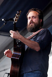 29 April 2012. New Orleans, Louisiana,  USA. <br /> New Orleans Jazz and Heritage Festival. <br /> Samuel Beam of 'Iron and Wine' plays folk rock.<br /> Photo Credit; Charlie Varley/varleypix.com