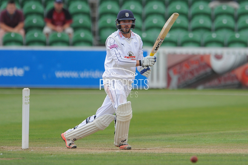 James Vince batting during the LV County Championship Div 1 match between Somerset County Cricket Club and Hampshire County Cricket Club at the County Ground, Taunton, United Kingdom on 11 September 2015. Photo by David Vokes.