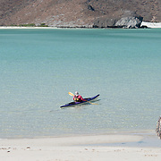 Kayaker in Balandra Bay. La Paz, BCS.
