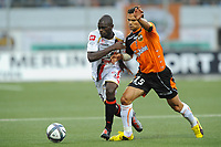 FOOTBALL - FRENCH CHAMPIONSHIP 2010/2011 - L1 - FC LORIENT v OGC NICE - 14/08/2010 - PHOTO PASCAL ALLEE / DPPI - ALAIN CANTAREIL (OGN) / JEREMY MOREL (FCL)