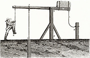 Kicking-down' a well. The spring-pawl method of sinking a oil well, using a drilling bit suspended on a rope.  Engraving from 'Les Merveilles de la Science' by Louis Figuier (Paris, c1870).