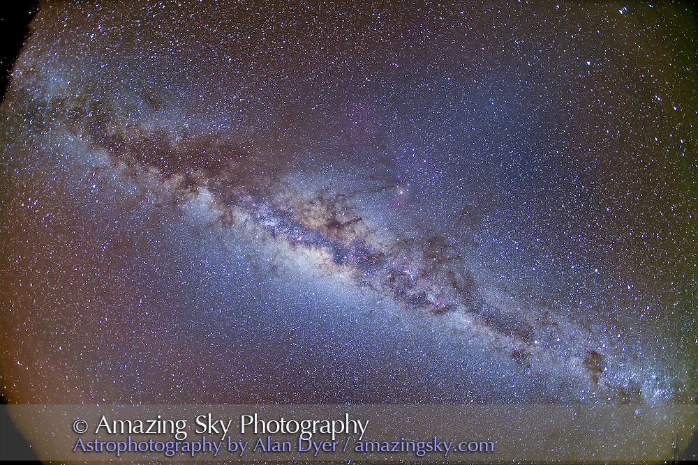 This is a full-frame fish-eye lens shot of the Milky Way from horizon to horizon, taken May 6, 2011 from Atacama Lodge, San Pedro de Atacama, Chile. It was taken pre-dawn about 5 am local time when the centre of the Galaxy was overhead. It is a stack of 4 x 3 minute exposures at f/2.8 and ISO 1250 with the Canon 5D MkII and Canon 15mm lens.