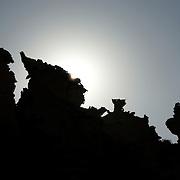 Oman, Ra's al-Jinz. March/14/2008...Rock silhouettes at Ra's al-Jinz.