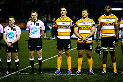 Guinness PRO14, Cardiff Arms Park, Cardiff, UK 9/11/2019<br /> Cardiff Blues vs Toyota Cheetahs<br /> Ruan Pienaar of Toyota Cheetahs during the Act of Remembrance before kick off.<br /> Mandatory Credit ©JMP/Rogan Thomson