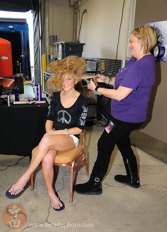 "November 22, 2009; Rancho Mirage, CA, USA; Miss California USA contestant receives hair treatment before the Miss California USA 2010 Pageant at ""The Show"" at the Agua Caliente Resort & Spa. Mandatory Credit: Kyle Terada-Terada Photo"