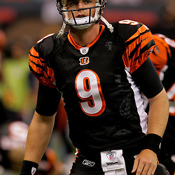 2009 August 14: Cincinnati Bengals quarterback Carson Palmer (9) stretches prior to the start of a preseason opener between the Cincinnati Bengals and the New Orleans Saints at the Louisiana Superdome in New Orleans, Louisiana.