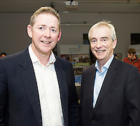Repro FREE:    Dermot Nolan, Mazars  and Dave Hickey, Connacht Tribune Group judges of the  Best Startup Business Galway, IBYE 2016, Awarded by Local Enterprise Office Galway at the Portershed. <br /> Photo:Andrew Downes, xposure