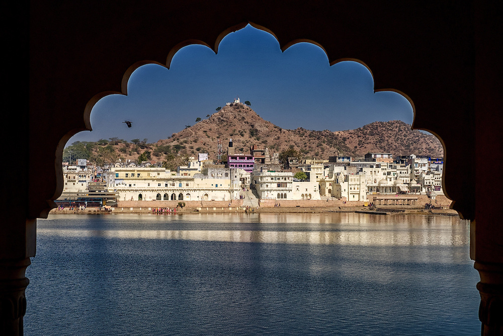 Pushkar Lake with Pap Mochani Temple in background