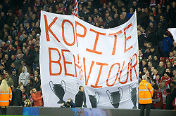 LIVERPOOL, ENGLAND - Tuesday, March 13, 2012: Liverpool banner in the Spion Kop 'Kopite Behaviour' against Everton during the Premiership match at Anfield. (Pic by David Rawcliffe/Propaganda)