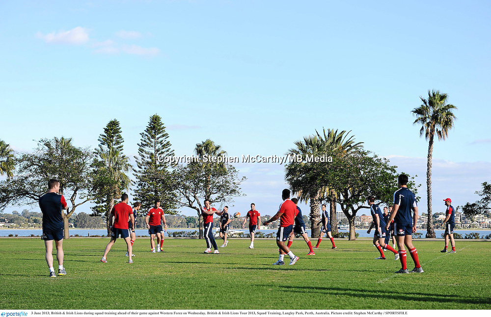 3 June 2013; British & Irish Lions during squad training ahead of their game against Western Force on Wednesday. British & Irish Lions Tour 2013, Squad Training, Langley Park, Perth, Australia. Picture credit: Stephen McCarthy / SPORTSFILE