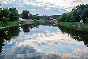 Henham Park, Suffolk, 18 July 2019. The lake is a tranquil centrepiece - The 2019 Latitude Festival.