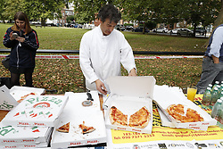 © Licensed to London News Pictures. 15/09/2017. London, UK. Police and other emergency personnel are receiving free pizzas at the scene of the Parsons Green explosion from a local restauranter. A number of casualties have been reported. Photo credit: Peter Macdiarmid/LNP