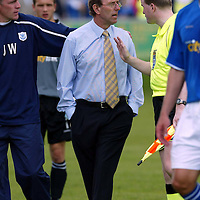 Brechin v St Johnstone....Pre-season friendly..17.07.04<br />Jim Weir pulls John Connolly away as he rages at Ref Terry Brunton<br /><br />Picture by Graeme Hart.<br />Copyright Perthshire Picture Agency<br />Tel: 01738 623350  Mobile: 07990 594431