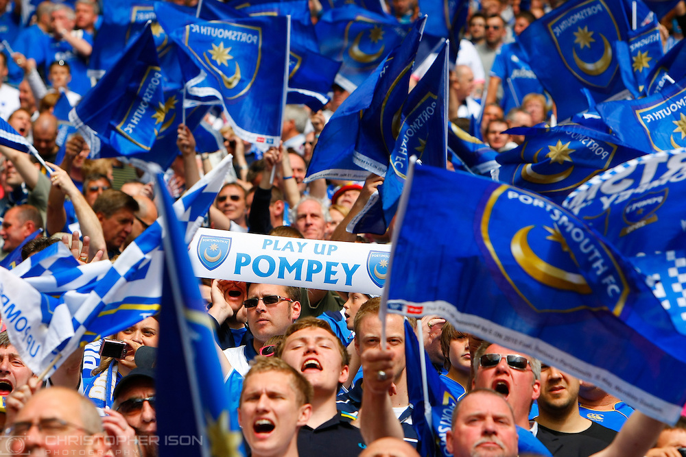 Portsmouth fans soak up the Webley atmosphere before the FA Cup final against Chelsea.