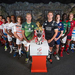 Team captains pose with Lord of the Rings character Gollum during the Wellington Sevens captains' photo opportunity at Weta Workshop in Wellington, New Zealand on Thursday, 26 January 2017. Photo: Hagen Hopkins / lintottphoto.co.nz