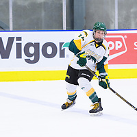 4th year defender Nikki Watters-Matthes (14) of the Regina Cougars in action during the Women's Hockey Game on November 25 at Co-operators arena. Credit: Arthur Ward/Arthur Images