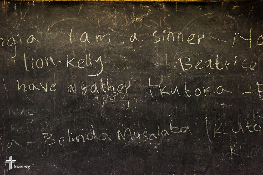 A blackboard at the Tumaini ELCK (Evangelical Lutheran Church in Kenya) Project 24 boarding facility on Sunday, Oct. 18, 2015, in Kisumu, Kenya. LCMS Communications/Erik M. Lunsford