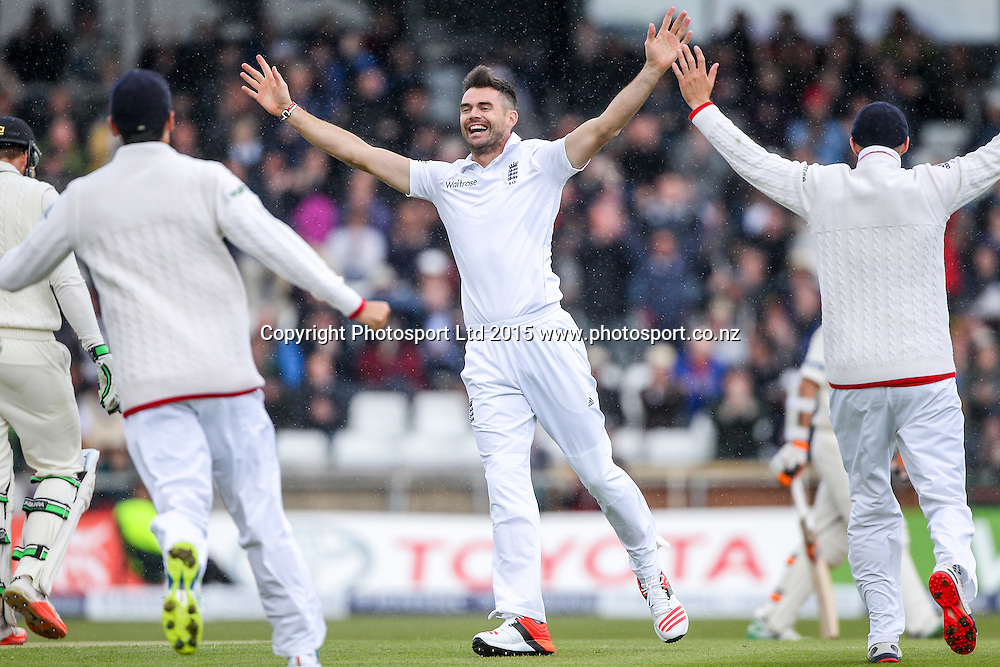Picture by Alex Whitehead/SWpix.com - 29/05/2015 - Cricket - 2nd Investec Test: England v New Zealand, Day 1 - Headingley Cricket Ground, Leeds, England - England's Jimmy Anderson celebrates his 400th test wicket after dismissing New Zealand's Martin Guptill (caught by Ian Bell).
