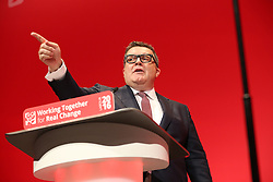 © Licensed to London News Pictures . 27/09/2016 . Liverpool , UK . TOM WATSON delivers the deputy leader's speech on the third day of the Labour Party Conference . Photo credit : Joel Goodman/LNP