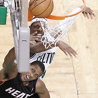 03 June 2012: Miami Heat point guard Mario Chalmers (15) goes for the layup past Boston Celtics small forward Paul Pierce (34) during the second half of Game 4 of the Eastern Conference Finals playoff series, Heat at Celtics, at the TD Banknorth Garden, Boston, Massachusetts, USA.