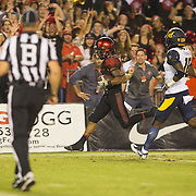 10 September 2016: The San Diego State Aztecs football team hosts Cal in their second game of the season. San Diego State running back Donnel Pumphrey (19) breaks free and scores a touchdown in the second quarter. The Aztecs lead 31-21 at halftime.