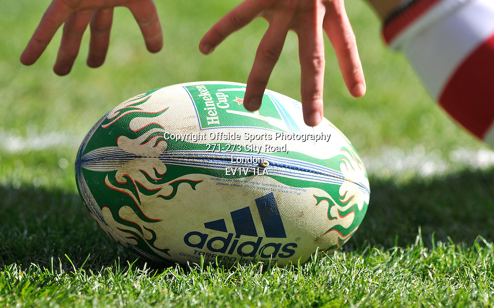 10/04/2011 - Heineken Cup Quarer Final Rugby - Northampton Saints vs Ulster - Heineken Cup rugby ball. - Photo: Charlie Crowhurst / Offside.