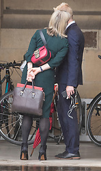 © Licensed to London News Pictures. 18/06/2019. London, UK. Treasury Secretary Liz Truss talks with Financial Times Chief Political Correspondent Jim Pickard at Parliament ahead of the second round of leadership votes. Boris Johnson has cemented his position as favourite to become the next Prime Minster after winning a clear majority in the first round of the conservative party's leadership race. Photo credit: Peter Macdiarmid/LNP
