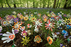 &copy; Licensed to London News Pictures. <br /> **EMBARGOED UNTIL 00.01am MONDAY 15 MAY, 2017**. 14/05/2017; Forest of Dean, Gloucestershire, UK. &quot;Please don&rsquo;t leaf it behind!&quot; Flowers made from rubbish collected in the Forest of Dean. The scheme is part of a new behaviour change campaign by Hubbub to tackle the rural litter epidemic. www.hubbub.org.uk/trashconverter. Trash Converters launch in the Forest of Dean, with a display of flowers created from waste, and with a van that gives out free drinks and snacks in exchange for rubbish that people find and bring to convert. For further details about the launch on 15 May please contact:<br /> Rachel Parkes	0777 565 2919 / rachel.parkes@greenhousepr.co.uk<br /> Helen Bell	07880 560 233 / helen.bell@greenhousepr.co.uk <br /> Picture credit : Simon Chapman/LNP