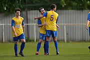 Hollands and Blair defender Steve Dampier congratulates Hollands and Blair striker James McDonald during the Southern Counties East match between AFC Croydon Athletic and Hollands & Blair at the Mayfield Stadium, Croydon, United Kingdom on 10 October 2015. Photo by Mark Davies.
