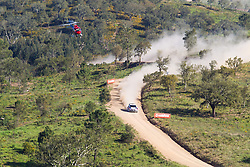 13.04.2013, Stage 4, Loule, POR, FIA WRC, Rallye Portugal, im Bild OSTBERG Mads/ ANDERSSON Jonas ( QATAR M SPORT WRT (GBR)/ FORD FIESTA RS ) wird von einem Helikopter ueber der Strecke verfolgt, Aktion / Action, // during the FIA WRC Rallye of Portugal, 4th Stage, Loule, Portugal on 2013/04/13. EXPA Pictures © 2013, PhotoCredit: EXPA/ Eibner/ Alexander Neis..***** ATTENTION - OUT OF GER *****