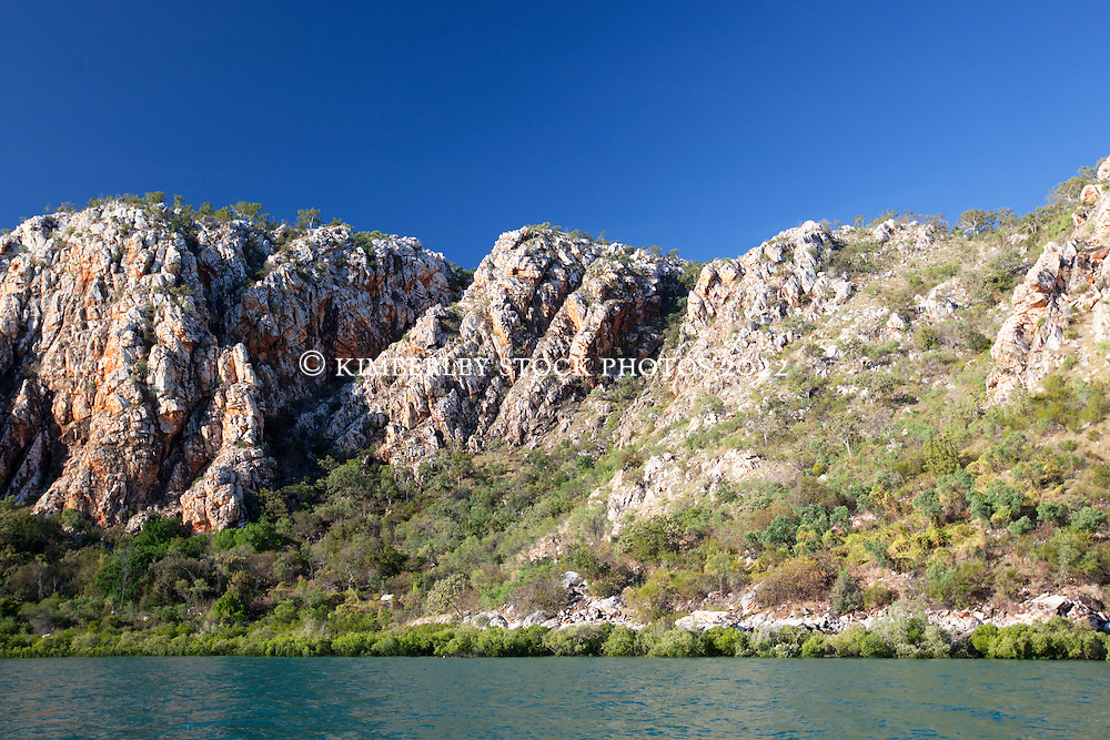Dramatic cliffs line Dugong Bay on the Kimberley coast.