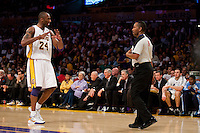 02 May 2010: Guard Kobe Bryant of the Los Angeles Lakers argues a call with NBA official James Capers while playing against the Utah Jazz during the first half of the Lakers 104-99 victory over the Jazz in game 1 of the second round of the NBA Playoffs at the STAPLES Center in Los Angeles, CA.