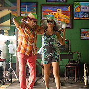 JUNE 9, 2016---MIAMI, FLORIDA<br /> Orestes Sosa, dances with Maria Espinoza, a tourist from Mexico, accompanied by a trio performing mostly Cuban songs in one of Little Havana's hottest spots Ball and Chain.<br /> (Photo by Angel Valentin/Freelance)