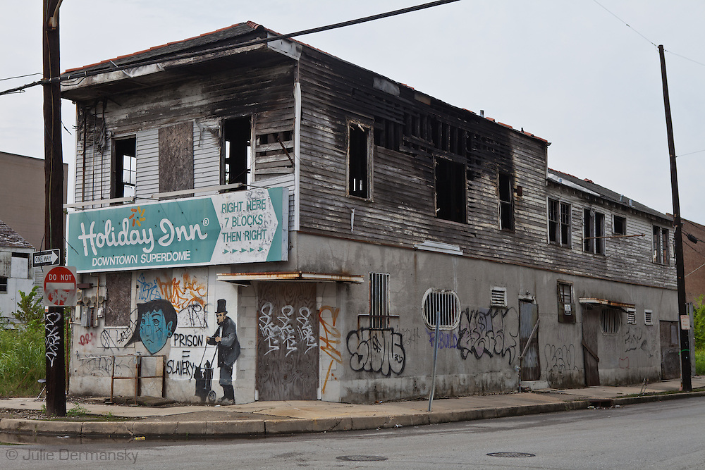 Mural created by  the British Graffiti artist Bansky, on a building destroyed by Hurricane Katriana near New Orleans downtown was one of the few remaining works by Banksy in the city five years after Katriane. .Banksy, international renowned graffiti artist covered many New Orleans walls in 2007 before the second anniversary of the storm.