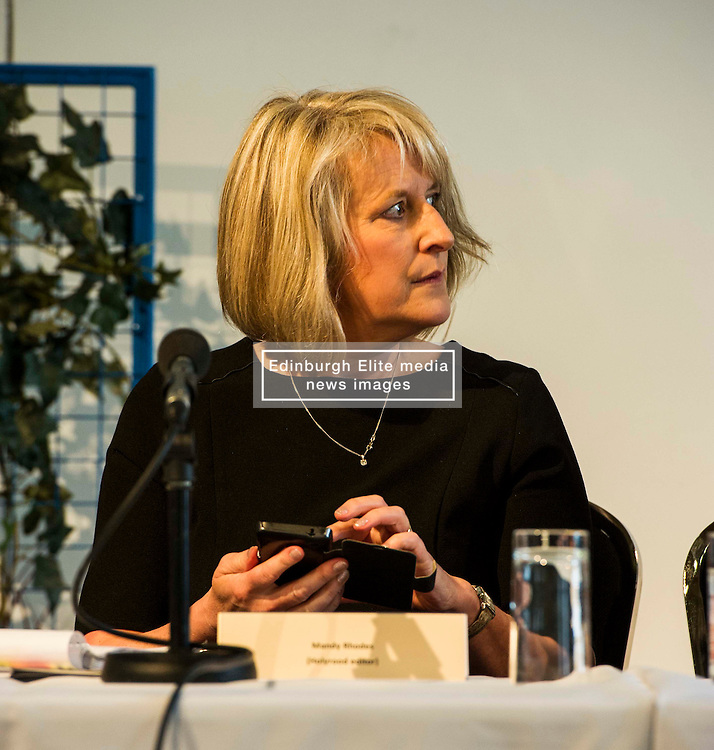 Pictured: Mandy Rhodes Holyrood editor<br /> Political scientists from the Academy of Government at the University of Edinburgh discussed the factors that influenced voters, the direction of Scottish politics, and analysed changes since the 2015 general election. Among the speakers were Dr Jan Eichhorn (University of Edinburgh), Professors Ailsa Henderson and James Mitchell (University of Edinburgh), Professor Roger Scully (University of Cardiff) and Dr Heinz Branbdenburg (Strathclyde University). Politicians joined the group discussion chaired by Mandy Rhodes (Holyrood Editort) with Marco Biagi (SNP), Nules Briggs (Conservative), Gavin Corbett (Greens), Juliet Swann (Associate Consultant at McNeill and Stone) and Martyn McCluskey (Labour) <br /> <br /> Ger Harley   EEm 13 May April 2016